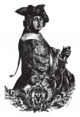 Frederic the Great he was the king of Prussia vintage line drawing or engraving illustration