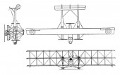 This illustration represents Caproni Type C A 4 Triplane in 1915 vintage line drawing or engraving illustration