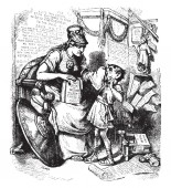 A woman cleaning nose of child with handkerchief vintage line drawing or engraving illustration