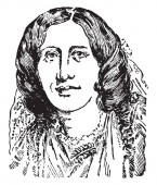 George Eliot is the literary name assumed by Marian Evans who was a novelist vintage line drawing or engraving illustration
