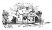 The Bennett charming historic Bed two-story building King and queen accommodations vintage line drawing or engraving illustration
