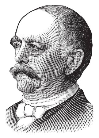 Prince Bismarck, 1815-1898, he was the first chancellor of the German empire from 1871 to 1890, and minister president of Prussia, vintage line drawing or engraving illustration