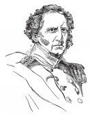 Winfield Scott 1786-1866 he was a United States army general vintage line drawing or engraving illustration