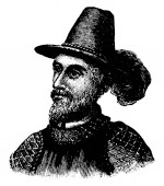 Ponce de Leon, 1474-1521, he was a Spanish explorer and conquistador and the first governor of Puerto Rico, vintage line drawing or engraving illustration