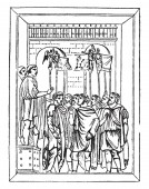 Roman Standards from the Arch of Constantine vintage line drawing or engraving illustration