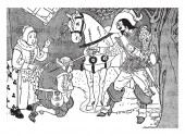 A man with horse kept sword on shoulder of another man kneel down in front of him woman looking at them vintage line drawing or engraving illustration