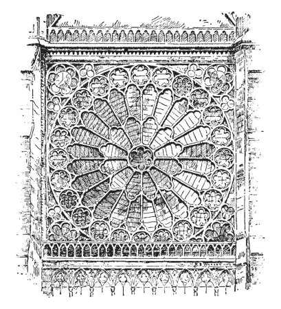 Rose Window is in the design of a rose and a circular window with mullions or tracery, radiating in a form suggestive, vintage line drawing or engraving illustration.