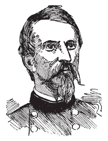 Philip Kearny, 1815-1862, he was a United States army officer, famous for his leadership in the Mexican-American war and American civil war, vintage line drawing or engraving illustration