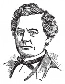 Richard Yates 1818-1873 he was an American politician and the governor of the state of Illinois vintage line drawing or engraving illustration