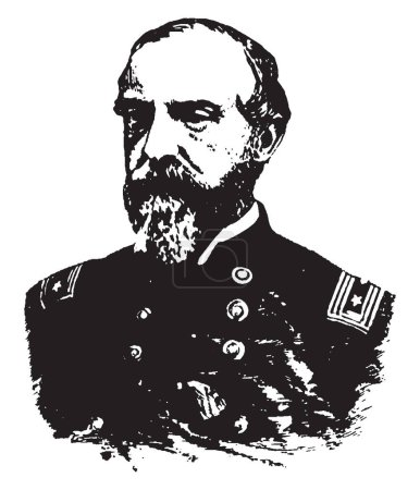General George G. Meade, 1815-1872, he was a United States army officer, union general and civil engineer involved in the coastal construction of several lighthouses, vintage line drawing or engraving illustration