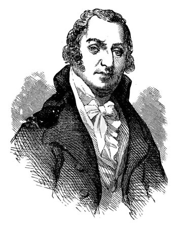 David Ramsay, 1749-1815, he was an American physician, public official, and historian, vintage line drawing or engraving illustration