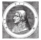 Pope Clement VII 1478-1534 he was Pope from 1523 to 1534 vintage line drawing or engraving illustration