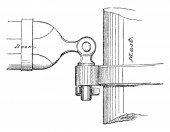 Gooseneck of Spanker Boom is a sort of iron hook fitted to the inner end of a yard or boom for temporary attachmen vintage line drawing or engraving illustration