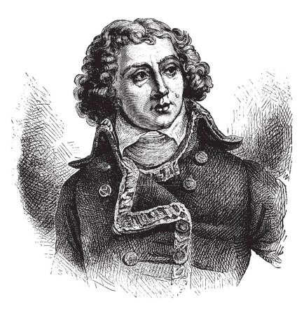General Alexander Berthier, 1753-1815, he was a  marshal and vice-constable of France, and major general under Napoleon, vintage line drawing or engraving illustration