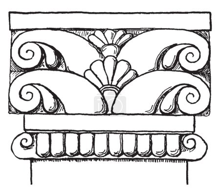 Etruscan Pilaster Cap, A plain astragal, taenia ringed the column beneath its plain cap, rock-cut tombs, vintage line drawing or engraving illustration.