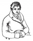 Robert Fulton 1765-1815 he was an American engineer and inventor famous for developing the first commercially successful steamboat called The North River Steamboat of Claremont vintage line drawing or engraving illustration