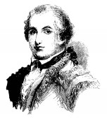 Daniel Morgan 1736-1802 he was an American pioneer soldier and politician from Virginia vintage line drawing or engraving illustration