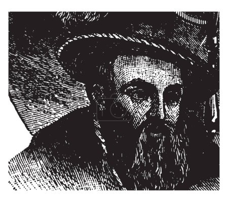 Kepler, 1571-1630, he was a German mathematician, astronomer, and astrologer, vintage line drawing or engraving illustration