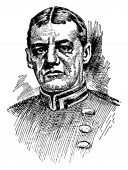 Rear-Admiral Evans 1846-1912 he was commanding officer of the Navy's first division vintage line drawing or engraving illustration