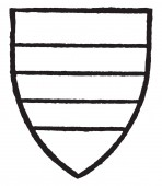 Harcourt bore Gules two bars gold vintage line drawing or engraving illustration