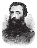 Col Thomas E Rose 1830-1907 he was union brevet brigadier general colonel and commander of the Pennsylvania vintage line drawing or engraving illustration