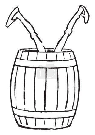 Illustration pour Jambes, cette image montre un homme sauté dans un tonneau avec les jambes en l'air, dessin de ligne vintage ou illustration de gravure - image libre de droit