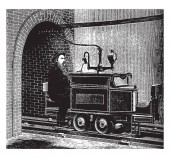 Siemens and Halske Electric Engine was the first electric railway built in Berlin in 1879 vintage line drawing or engraving illustration