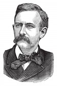 Joseph Benson Foraker 1846-1917 he was the 37th governor of Ohio from 1886 to 1890 and republican United States senator vintage line drawing or engraving illustration