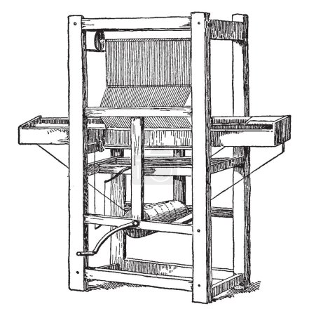 This illustration represents Cartwright First Power Loom which eased the process of constructing fabric, vintage line drawing or engraving illustration.