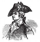 General Anthony Wayne 1745-1796 he was a United States army officer statesman and brigadier general vintage line drawing or engraving illustration
