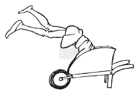 Illustration pour Jambes, cette image montre un homme sauté dans une brouette avec les jambes en l'air, dessin de ligne vintage ou illustration de gravure - image libre de droit