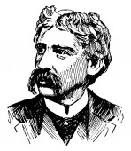 Bret Harte 1836-1902 he was an American short story writer and poet famous for his short fiction featuring miners gamblers and other romantic figures of the California Gold Rush vintage line drawing or engraving illustration