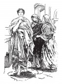 This picture shows Helen of Troy. She is also known as Helen of Sparta and was sister to Cartor, Pollux and Clytemnestra. In Greek mythology, she is believed to be the daughter of Zeus and Leda, vintage line drawing or engraving illustration.