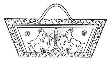 Egyptian basket, vintage engraved illustration