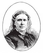 Annie Wittenmeyer 1827-1900 she was an American social reformer and the first president of the Women's Christian Temperance Union vintage line drawing or engraving illustration