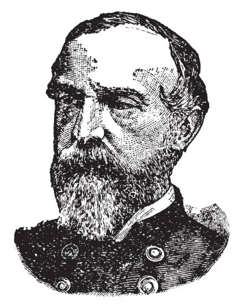 George Meade, 1815-1872, he was a United States army officer, union general and civil engineer involved in the coastal construction of several lighthouses, vintage line drawing or engraving illustration
