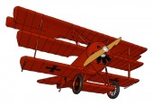 Triplane a vintage three vertical wing airplane vector or color