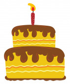 A beautiful painting of two-layer yellow cake with chocolate top