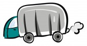 Camping truck hand drawn design illustration vector on white b