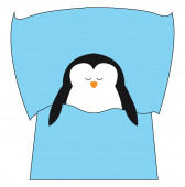 Cartoon picture of the cute little penguin sleeping viewed fro