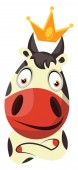 Cow with a crown on head illustration vector on white backgrou