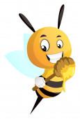 Bee holding honey dipper illustration vector on white backgrou