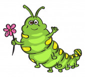 Green worm illustration vector on white background