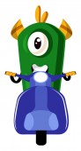 Monster on scooter illustration vector on white background
