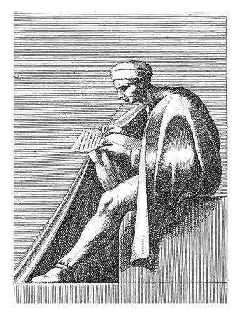 Writing man, Adamo Scultori, after Michelangelo, 1...