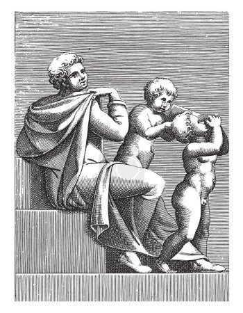 Seated Young Man with Two Children, Adamo Scultori...