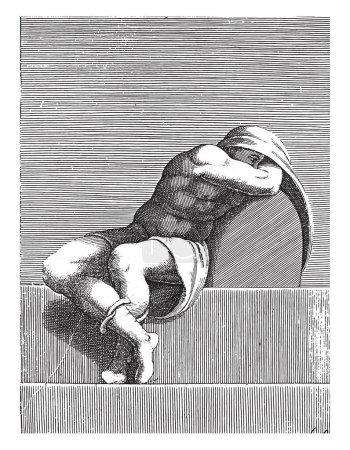 Sleeping young man, Adamo Scultori, after Michelan...