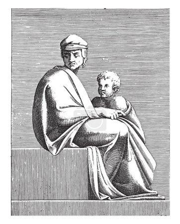 Seated Man with Child, Adamo Scultori, after Miche...