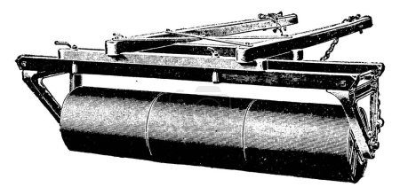 Iron Roller an agricultural tool having large iron roll attached to frame used to compacts the soil and smashes clods, vintage line drawing or engraving illustration.