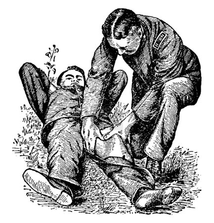 In bleeding from the thigh, leg, or foot press backward with the thumbs on the femoral artery at the middle of the groin where the artery passes over the bone, vintage line drawing or engraving illustration